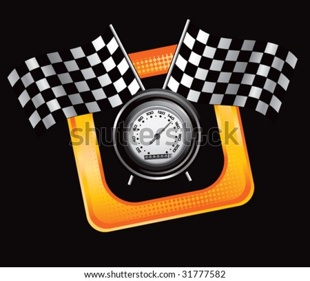 racing checkered flags and speedometer on tilted banner