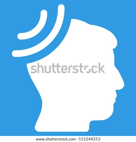 Radio Reception Brain vector icon. Style is flat graphic symbol, white color, blue background.