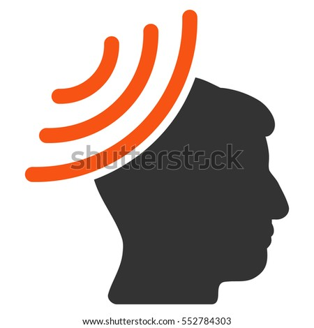Radio Reception Mind vector icon. Style is flat graphic bicolor symbol, orange and gray colors, white background.
