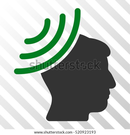 Radio Reception Mind vector pictograph. Illustration style is flat iconic bicolor green and gray symbol on a hatch transparent background.