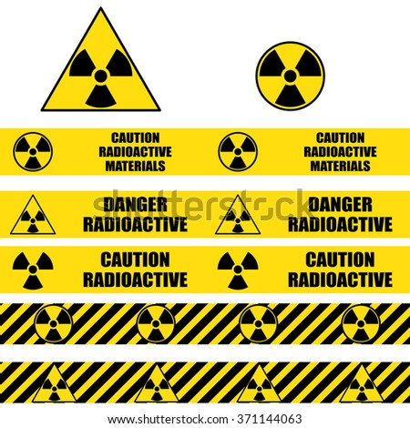 Radioactive signs and seamless warning tapes set. Vector icon.