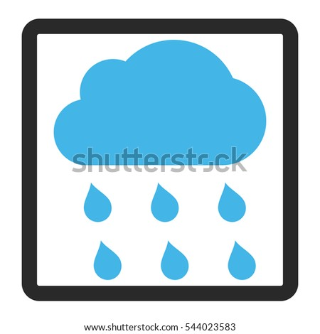 Rain Cloud vector icon. Image style is a flat bicolor icon symbol in a rounded rectangular frame, blue and gray colors, white background.