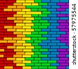 Rainbow background on a brick wall - stock photo