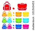 Rainbow colored school bag icons - stock vector