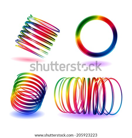 Rainbow colors shining curling ribbons. Party serpentine. Vector. EPS 10.