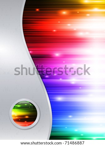 Rainbow multicolored abstract bright background in metal frame with glossy button