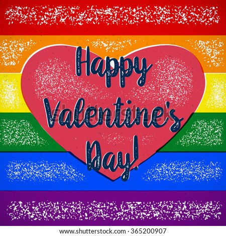 rainbow valentines day card with gay heart and shifted colors