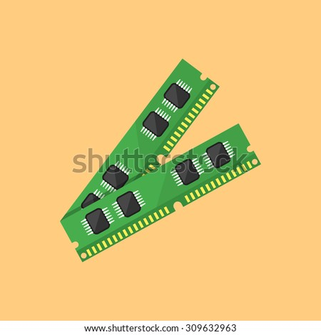 Ram memory flat design style vector illustration on orange background
