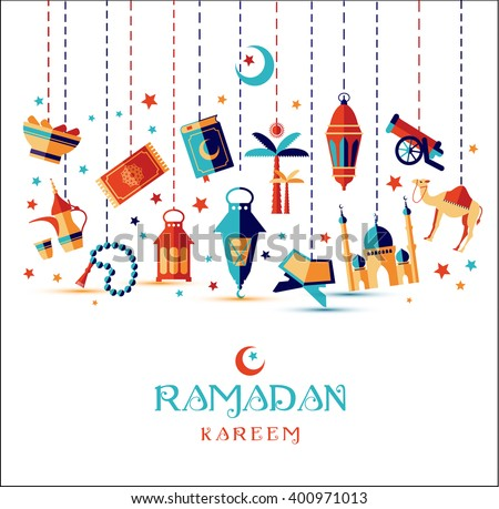 Ramadan Kareem icons set of Arabian.