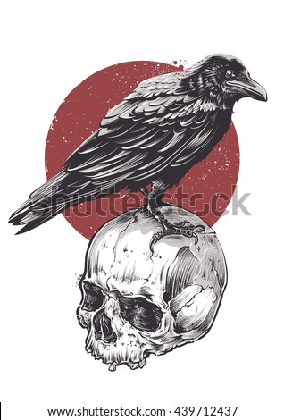 Raven on skull grunge image. Hand drawn vector art. Sketch vector illustration.