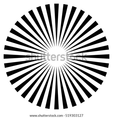 Rays, beams element. Sunburst, starburst shape on white. Radiating, radial, merging lines. Abstract circular geometric shape.