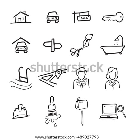 Real estate drawing icons set