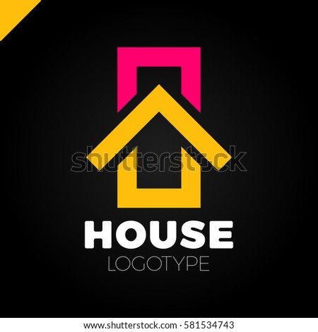 Real estate house logo top arrow stock vector 581534920 for Household design logo