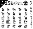Real estate icons set, basic series - stock vector