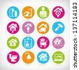 real estate management icon set - stock photo
