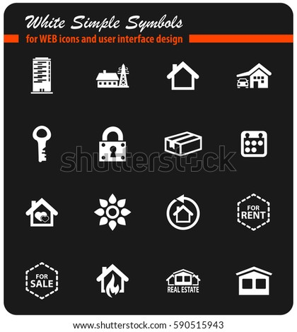 Real Estate Icons Vector Real Property Stock Vector