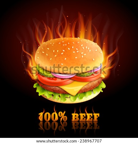stock vector realistic beef hamburger in fire hot fast food background vector illustration 238967707 - Каталог — Фотообои «Еда, фрукты, для кухни»