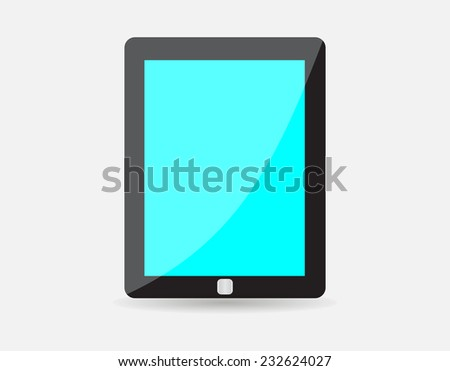 Realistic black tablet with blue blank screen isolated on white background. Vector illustration EPS10