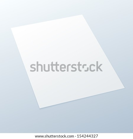 Realistic Blank/empty A4 office paper in perspective on a light background - Vector MockUp.
