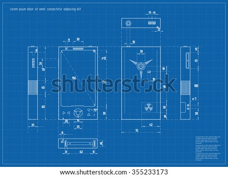 Realistic Blueprint Nuclear Smartphone. Vector illustration.