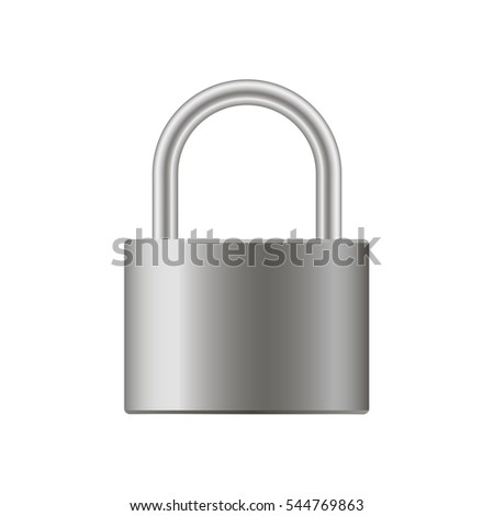 realistic closed padlock. Steel lock for protection privacy illustration.