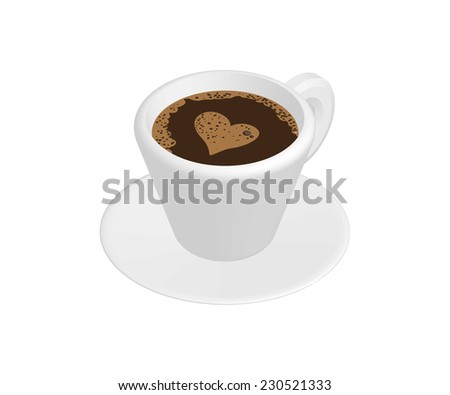 Realistic cup of coffee isolated on white background
