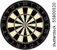 Realistic dart board over white background - stock vector