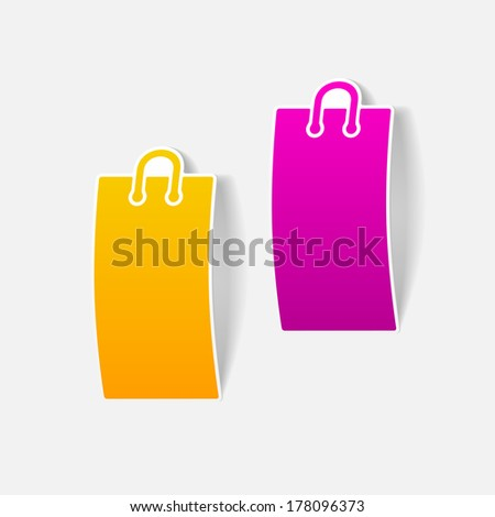 realistic design element: shopping, bag, package