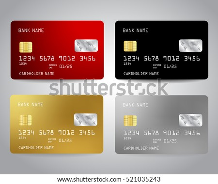 Realistic detailed credit cards set with colorful abstract design background. Vector illustration EPS10