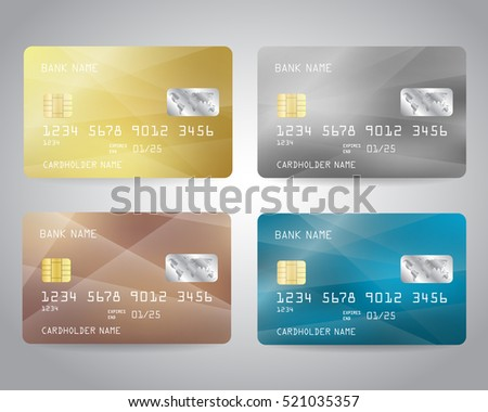 Realistic detailed credit cards set with colorful abstract gold, silver, bronze, blue design background. Vector illustration EPS10