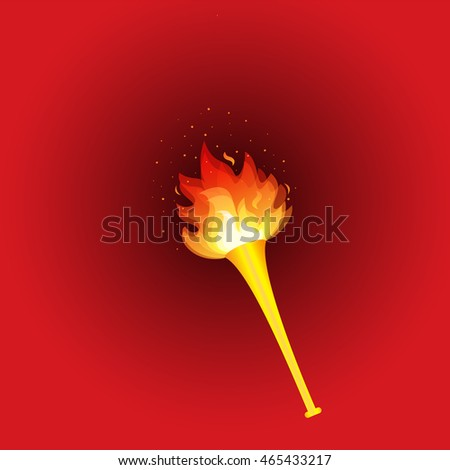 Realistic fire torch on red background. vector illustration