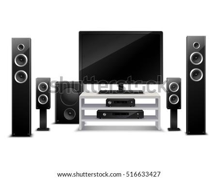 Realistic home theater concept with tv and musical speakers isolated vector illustration