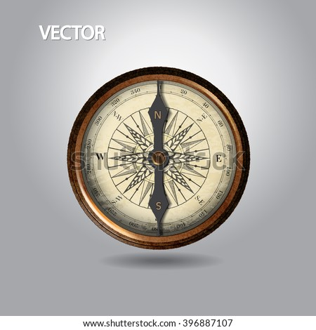 realistic image of vintage brown isolated compass. vector illustration