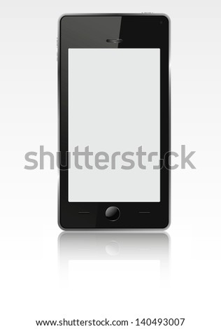 Realistic mobile phone (smart-phone) with blank screen. Vector  illustration.