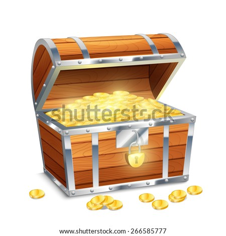 Realistic old style pirate treasure chest with golden coins isolated on white background vector illustration