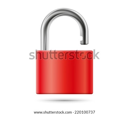 Realistic padlock illustration. Closed red lock security icon isolated on white