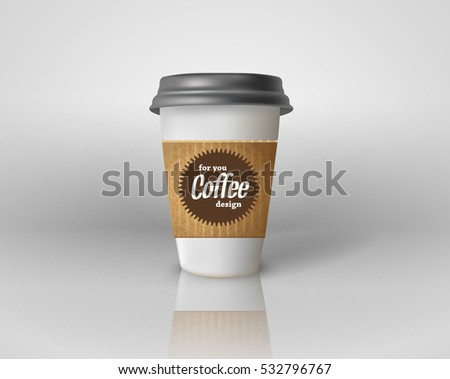 Realistic paper coffee cup isolated. Vector EPS10 illustration.
