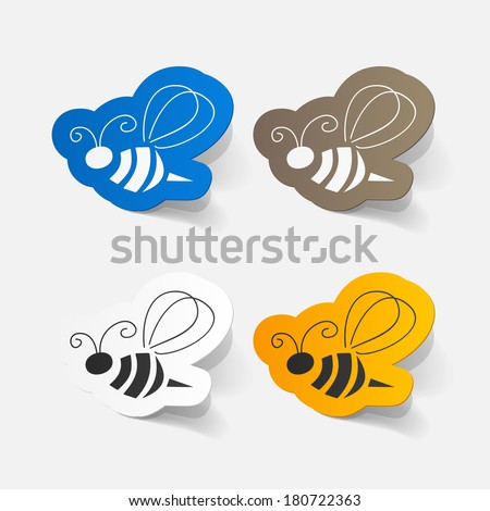 Realistic paper sticker: Bee. Isolated illustration icon