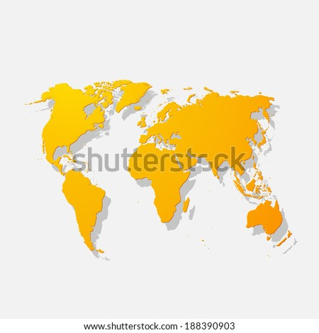 Realistic paper sticker: map of the world. Isolated illustration icon