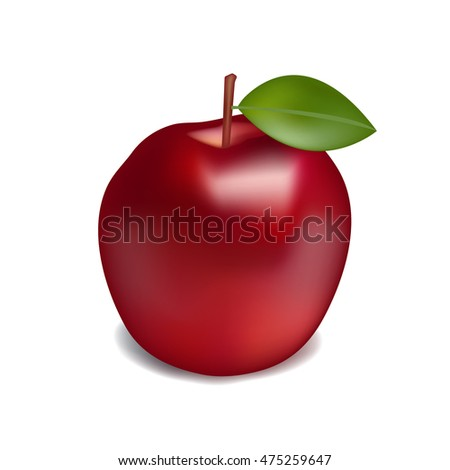Realistic red apple with shadow  on a white background vector illustration