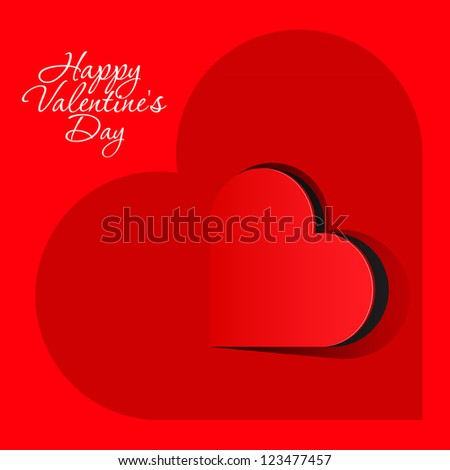 Realistic Red Heart inside a large heart. Valentine's day or Wedding vector background