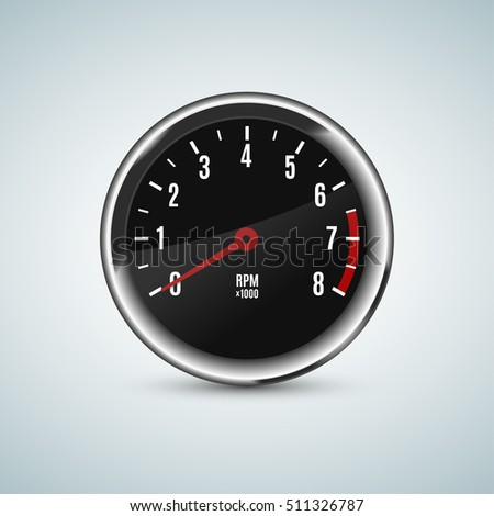 Realistic tachometer device vector illustration
