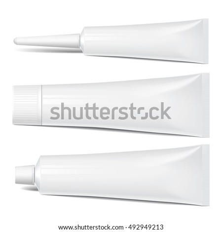 Realistic tube. Set of cosmetic products on a white background. Cosmetic package collection for cream, soups, foams, shampoo, tooth paste, glue. vector illustration.