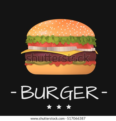 Realistic vector illustration of burger.Hamburger with meat, lettuce, cucumbers, cheese, bow and tomato. Vector burger in black background isolated.