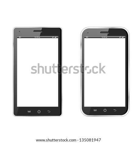 Realistic vector illustration of two different modern black smartphones. eps10