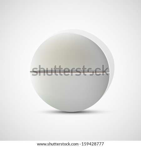 Realistic vector standing pill isolated on white background