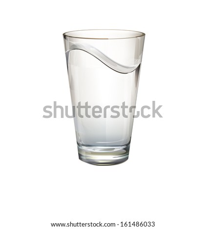 Realistic water glass. Vector design