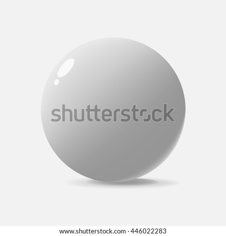realistically made sphere isolated on white background . With shadows and glare . Vector Image .