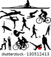 recreation sport silhouettes - vector - stock photo