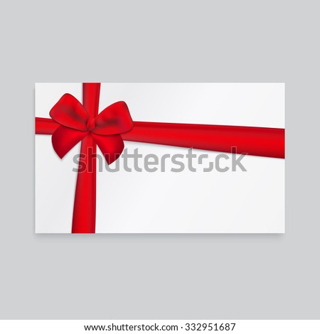 Rectangle white paper card with thick red ribbon and tied bow.